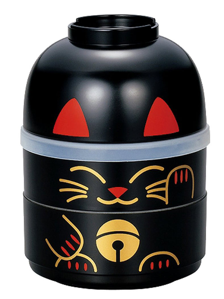 Japanese Kokeshi Bento Lunch Box Manekineko Cat Black S HAKOYA Japan 52678