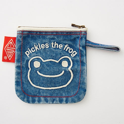 Pickles the Frog Denim mini Pouch Face Embroidery Japan
