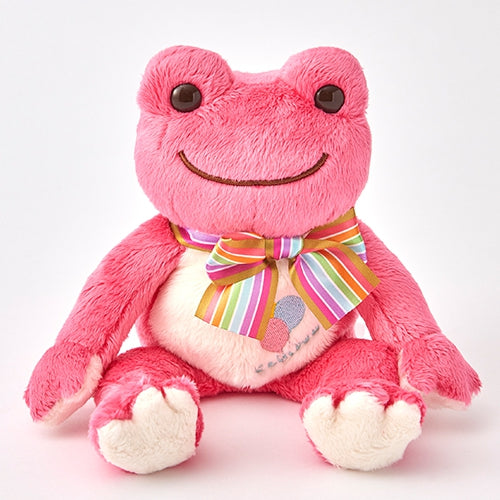 Pickles the Frog Bean Doll Plush Rainbow Color Ribbon Pink Japan