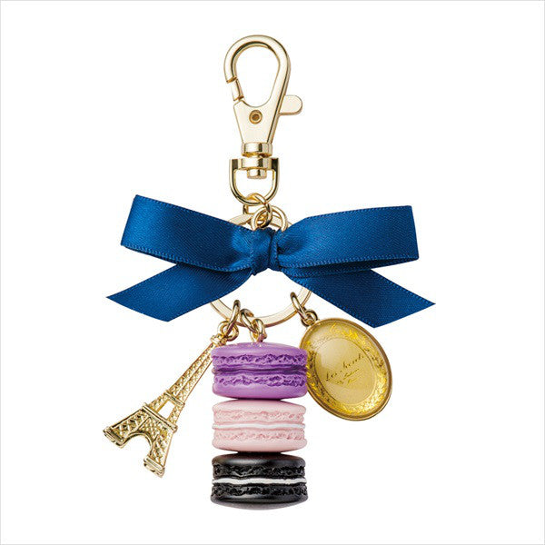 Bag Chain Keychain Macaron Eiffel Tower Cassis Violet Laduree Japan Round Box