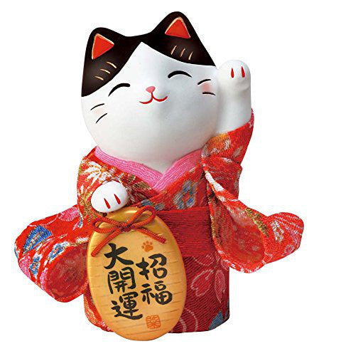 Japan Beckoning Cat Maneki Neko Lucky Kimono Left Hand Y7417