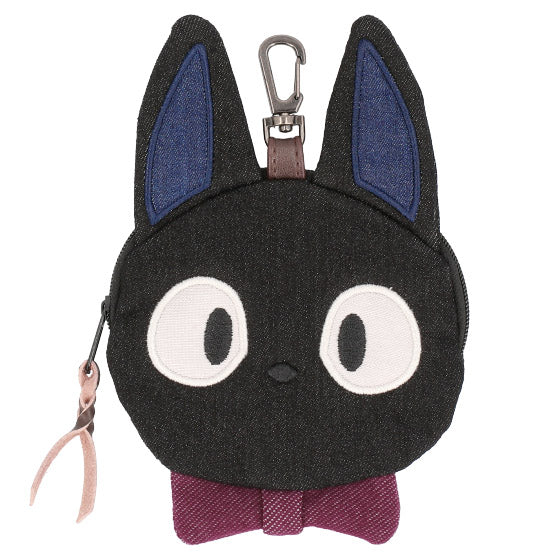 Kiki's Delivery Service Jiji Denim Pouch Die-Cut Studio Ghibli Japan
