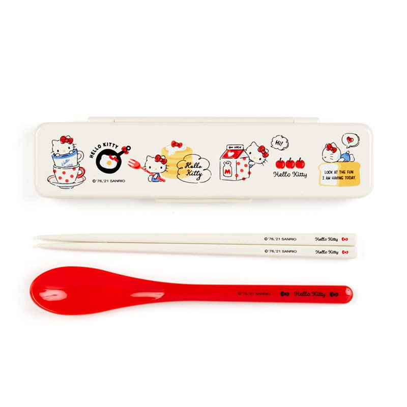 Hello Kitty Chopsticks & Spoon Set HAPPY SPRING Sanrio Japan 2021