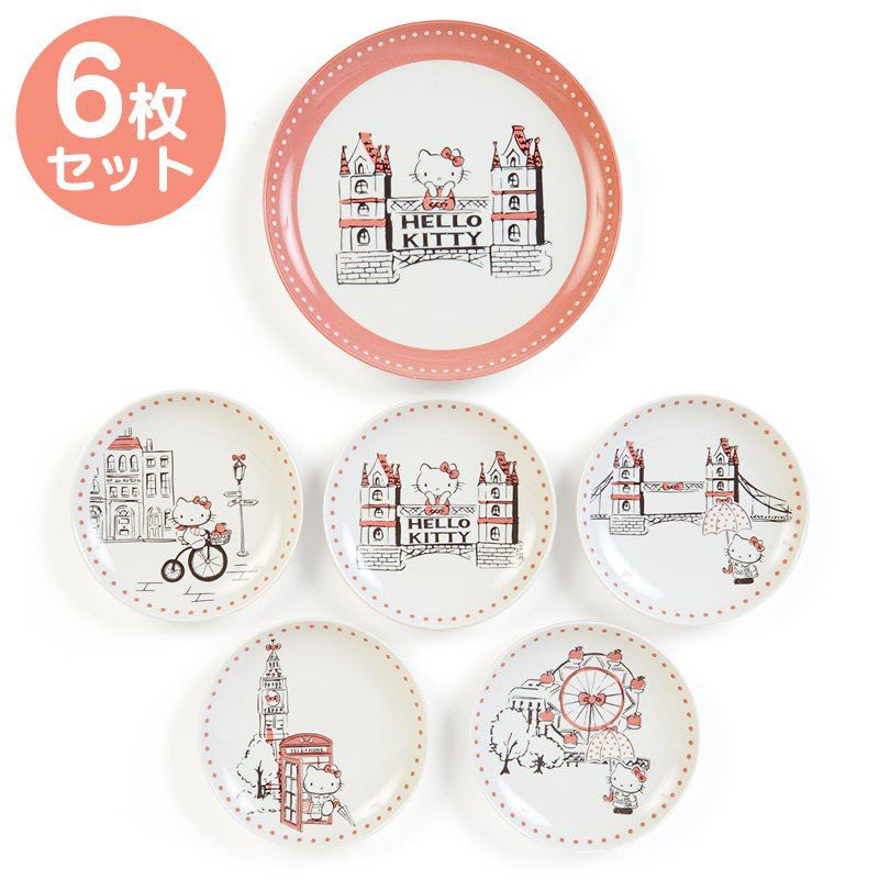 Hello Kitty Plate 6pcs Set London Sanrio Japan