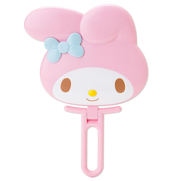 My Melody Face shaped hand Mirror folding pink Sanrio Japan