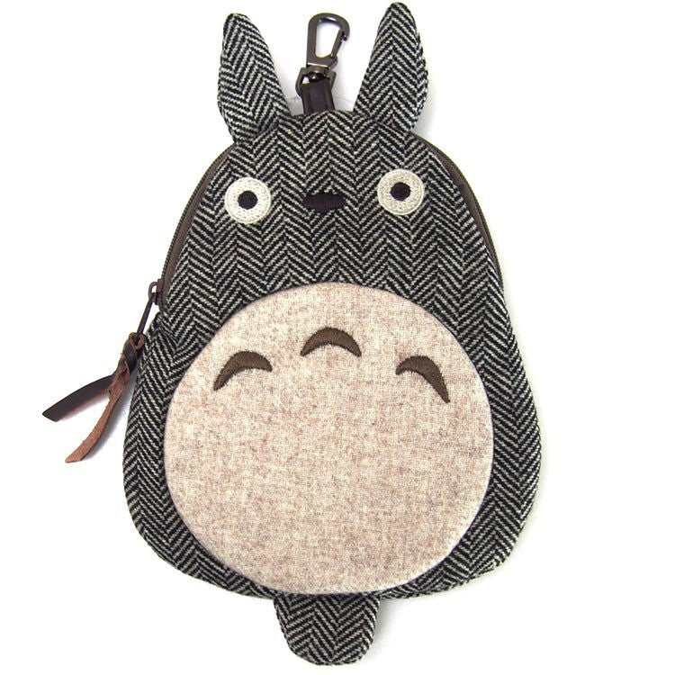 My Neighbor Totoro Pouch Die-Cut Tweed Gray Studio Ghibli Japan