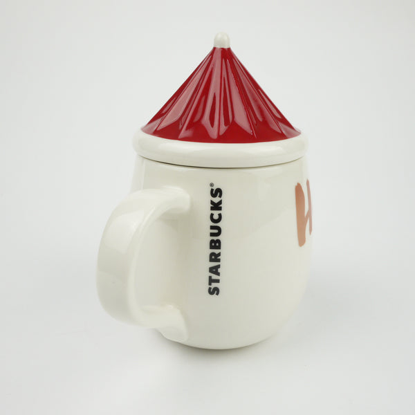 Starbucks Christmas Japan 2014 Mug Cup Santa Claus Hat set w/ Lid Xmas 300ml NEW