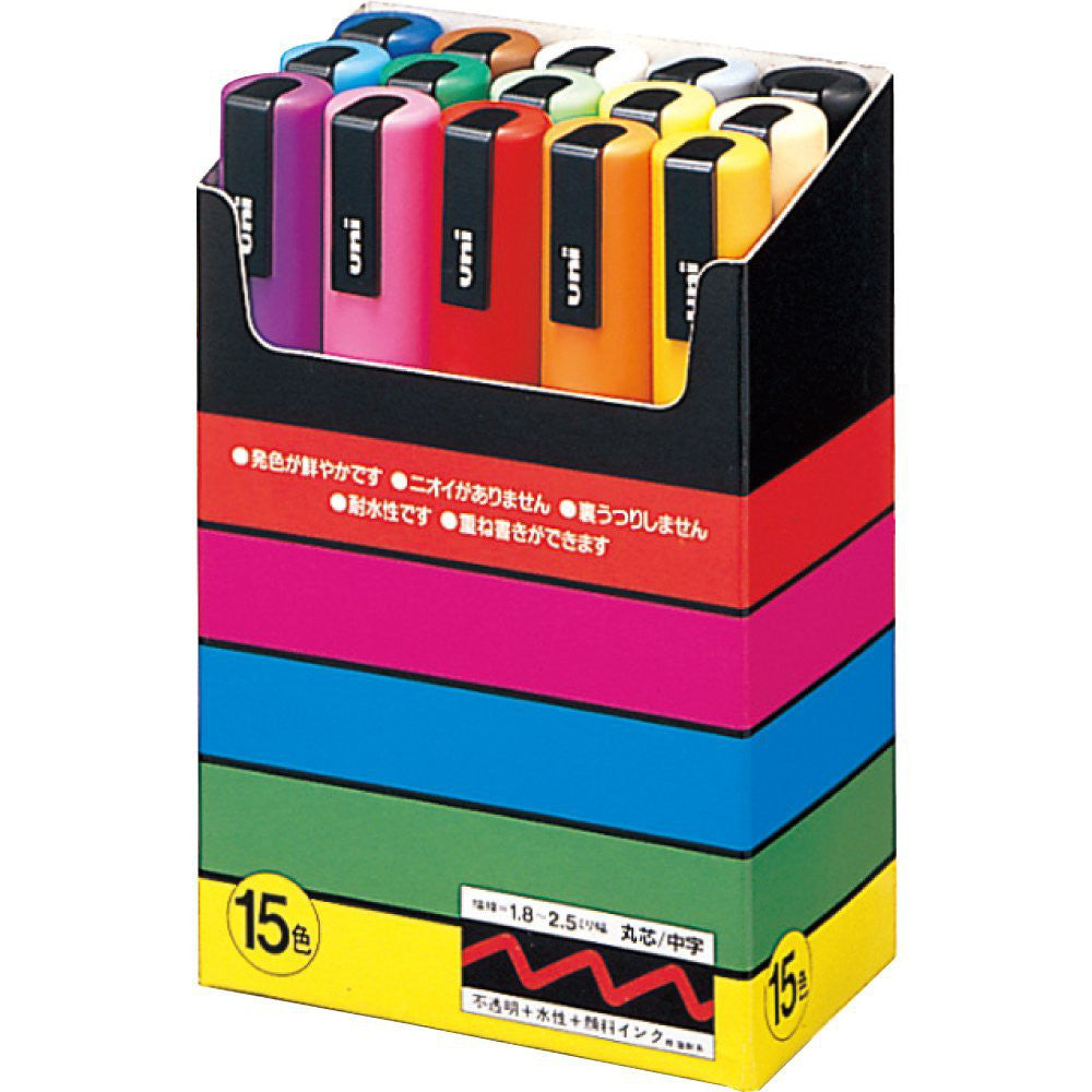Mitsubishi Uni Posca PC5M15C Marker Pen 1.8-2.5mm 15 Color Set