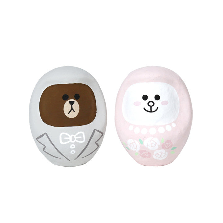 Brown Bear Cony Rabbit Wedding Daruma Set S LINE FRIENDS Japan