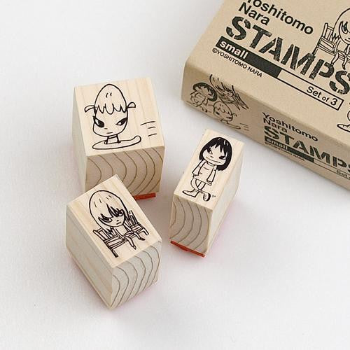 Nara STAMP wood / S size 3 pcs SET Yoshitomo Nara Japan Art