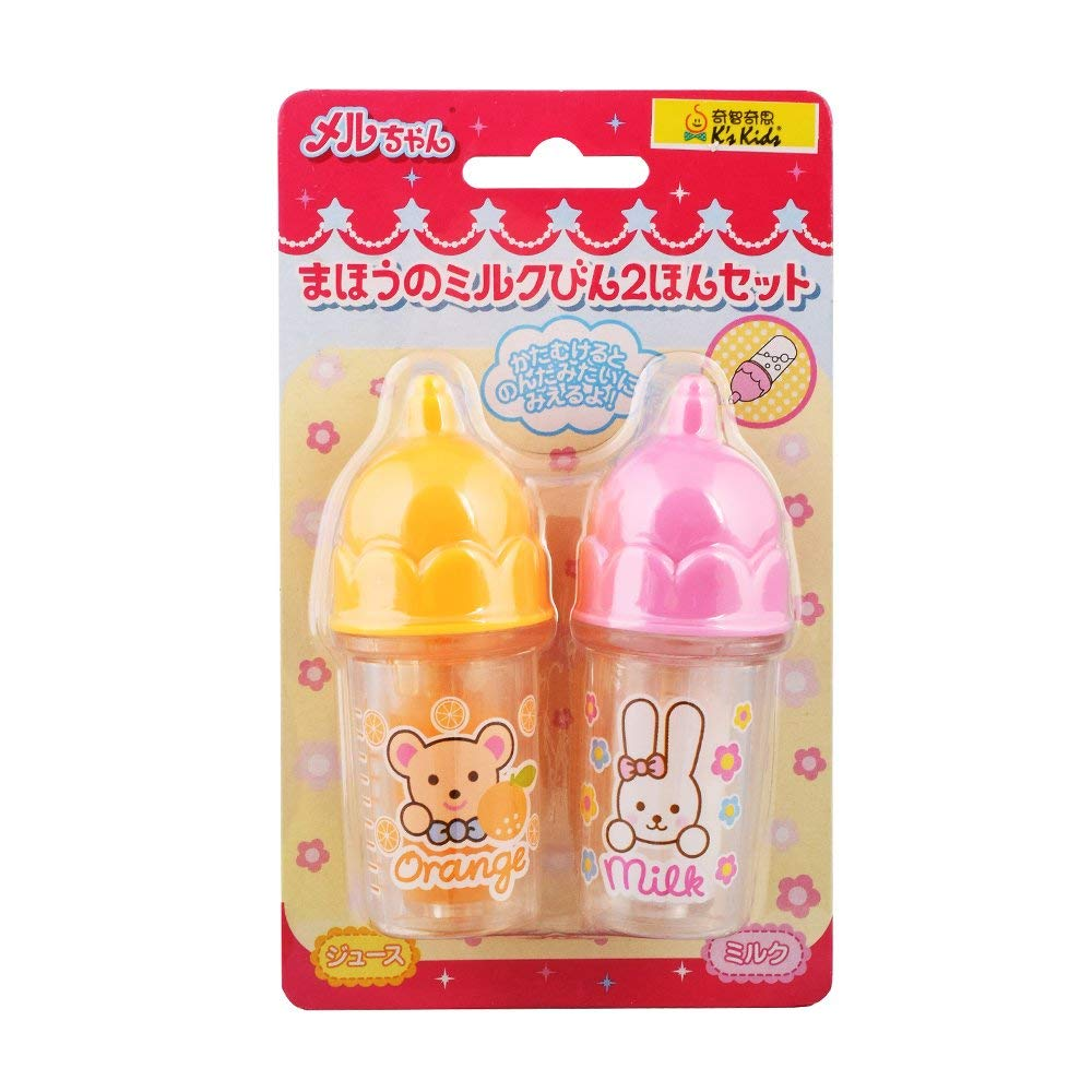 Mell Chan Baby Bottle Milk Orange Juice 2pcs Set Pretend Play Toy Pilot Japan