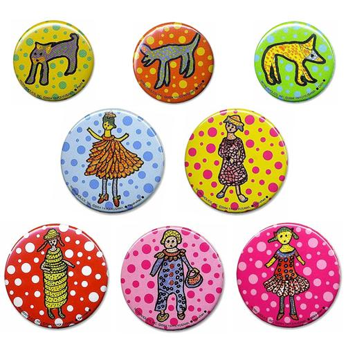 Pinback Button Badge 8pcs Set Yayoi Kusama Japan Artist Pumpkin