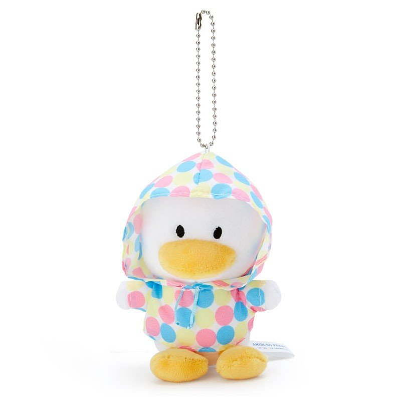 Ahiru no Pekkle Plush Mascot Holder Keychain Raincoat Sanrio Japan