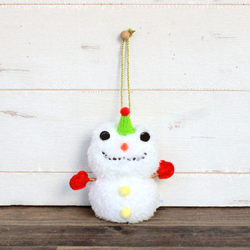 Pickles the Frog Plush Keychain Snowman Japan
