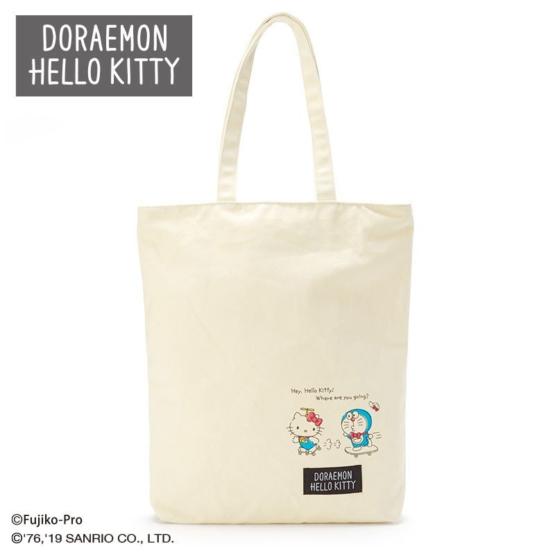 Doraemon & Hello Kitty Canvas Tote Bag Sanrio Japan 2019