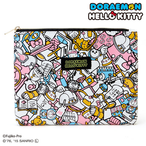 Sanrio Hello Kitty x Doraemon Flat Pouch Japan Collaboration