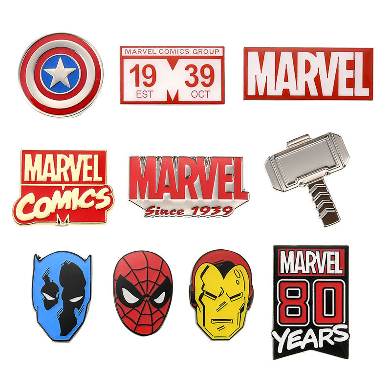 Marvel Pin Badge Set American Vintage For 80th Anniversary Disney Store Japan