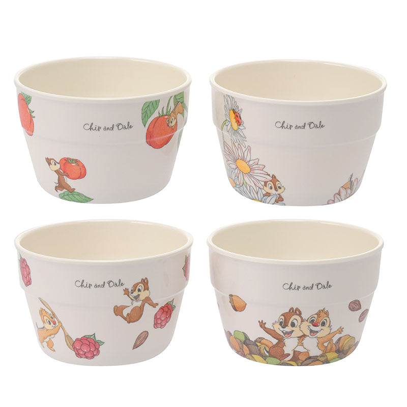 Chip & Dale Bowl 4pcs Set Plants Disney Store Japan