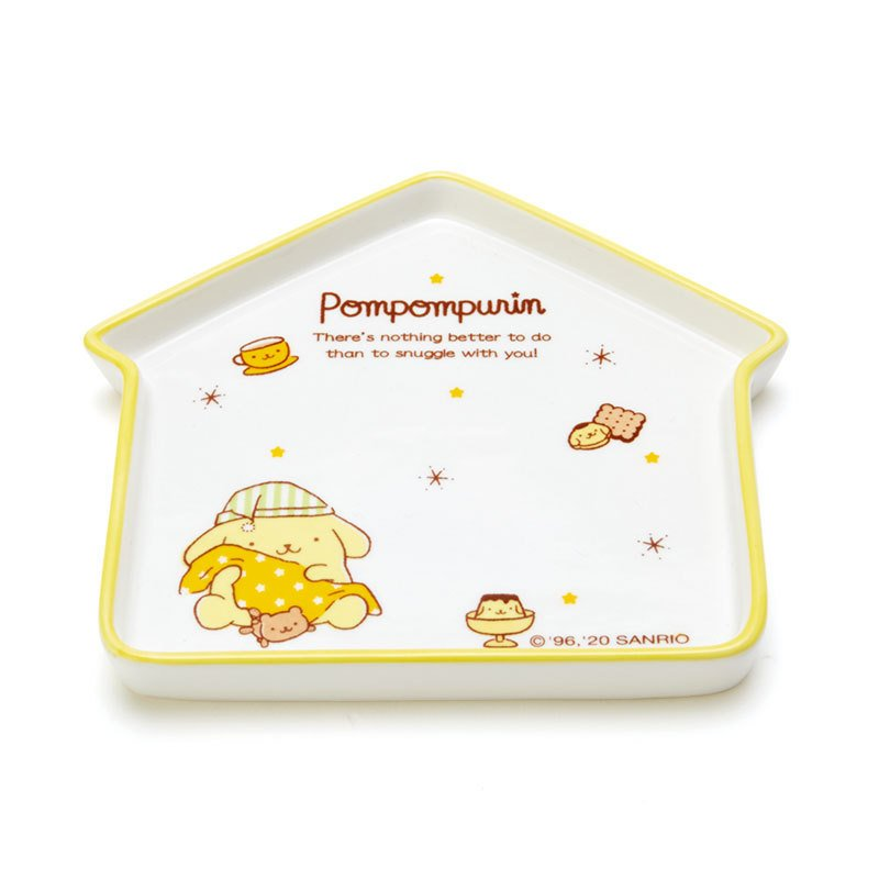 Pom Pom Purin Ceramic Plate House shape Nemunemu Sleepy Sanrio Japan