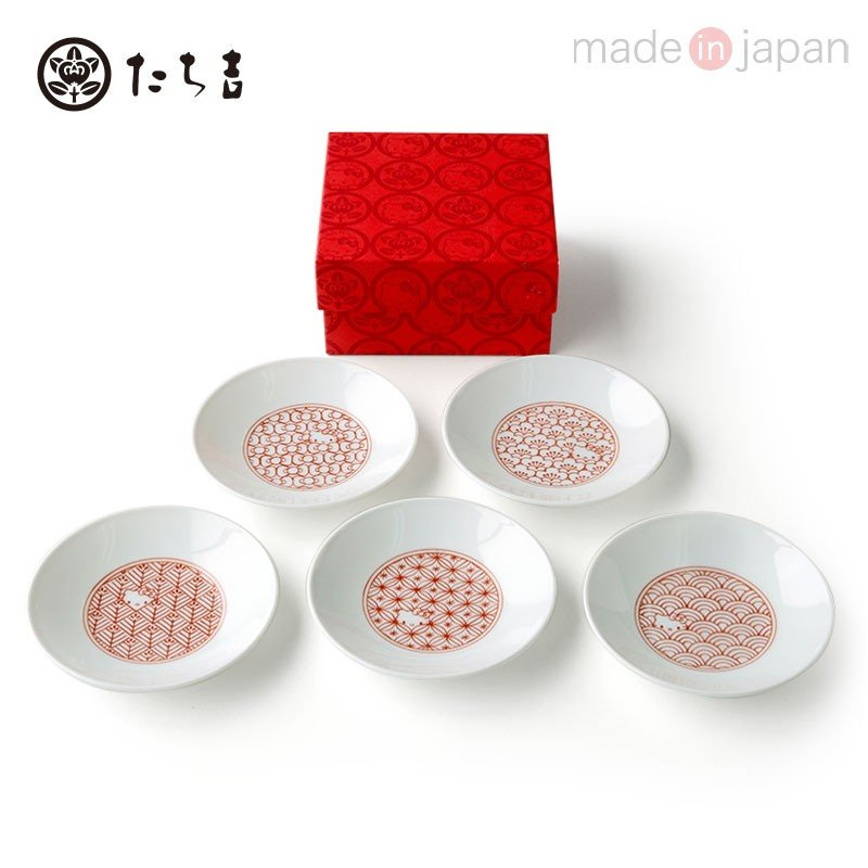 Hello Kitty mini Plate 5pcs Set Mino Ware Tachikichi Lucky Pattern Sanrio Japan