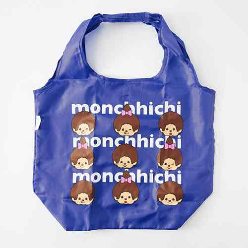 Monchhichi Eco Shopping Tote Bag Face MONE Blue Japan