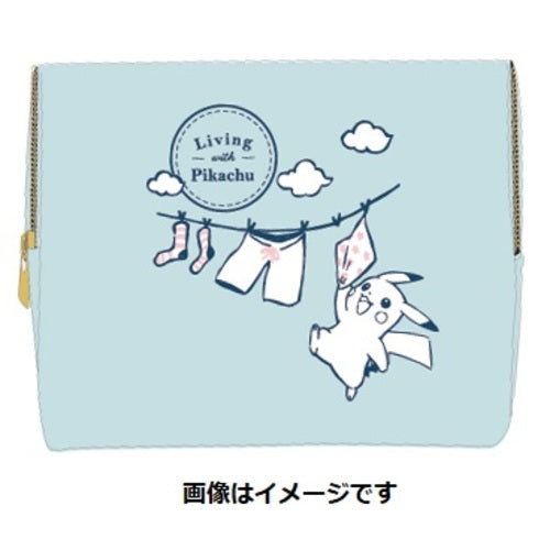 Pouch Blue Living with PIKACHU Pokemon Center Japan Original