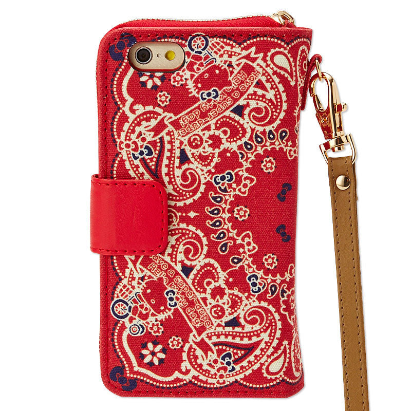 Hello Kitty iPhone 6 6S Gadget Case Pouch Red Bandana Sanrio Japan