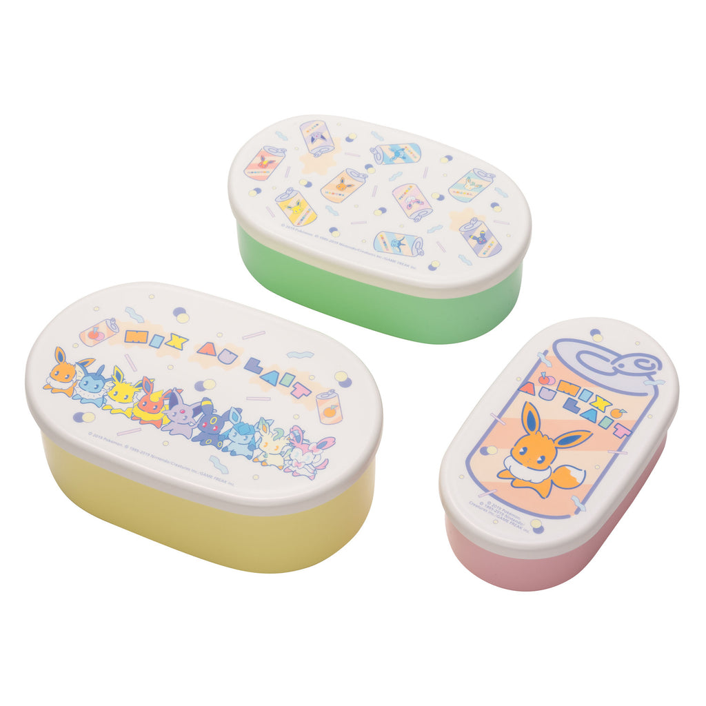 Eevee Eievui Lunch Box Bento 3pc Set Lemonade Mix au Lait Pokemon Center Japan