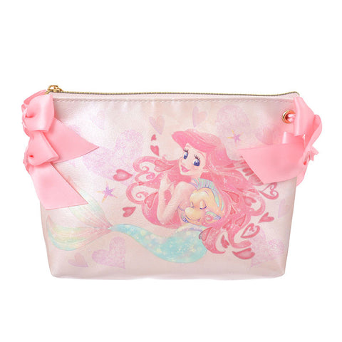Ariel & Flounder Pouch Pink Ribbon Princess Disney Store Japan