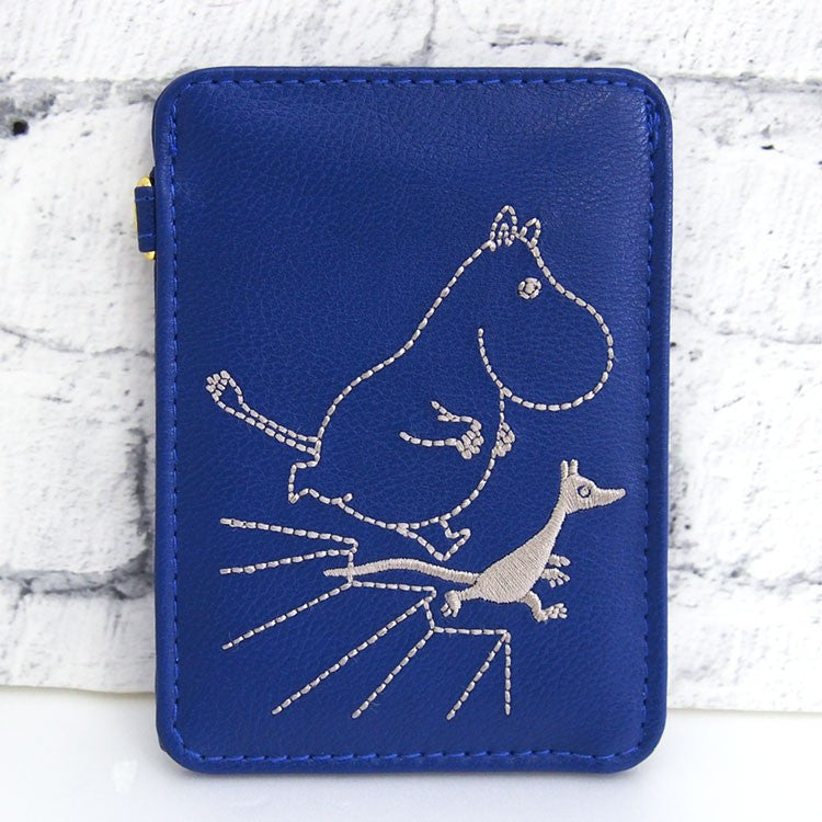 Moomin ID Card Pass Case Embroidery Blue Moomin Japan