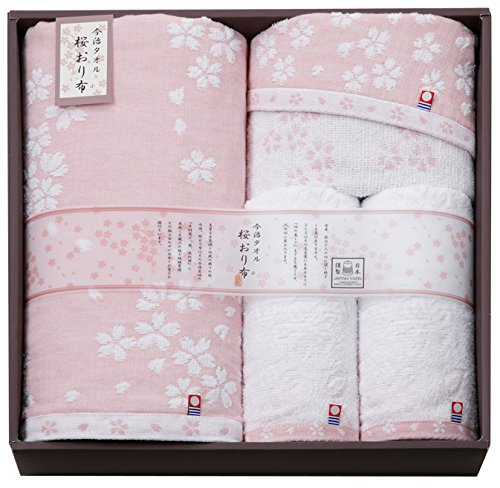 Bath Face Wash Towel 4pcs Set Sakura Imabari Towel Japan IS7650-PI