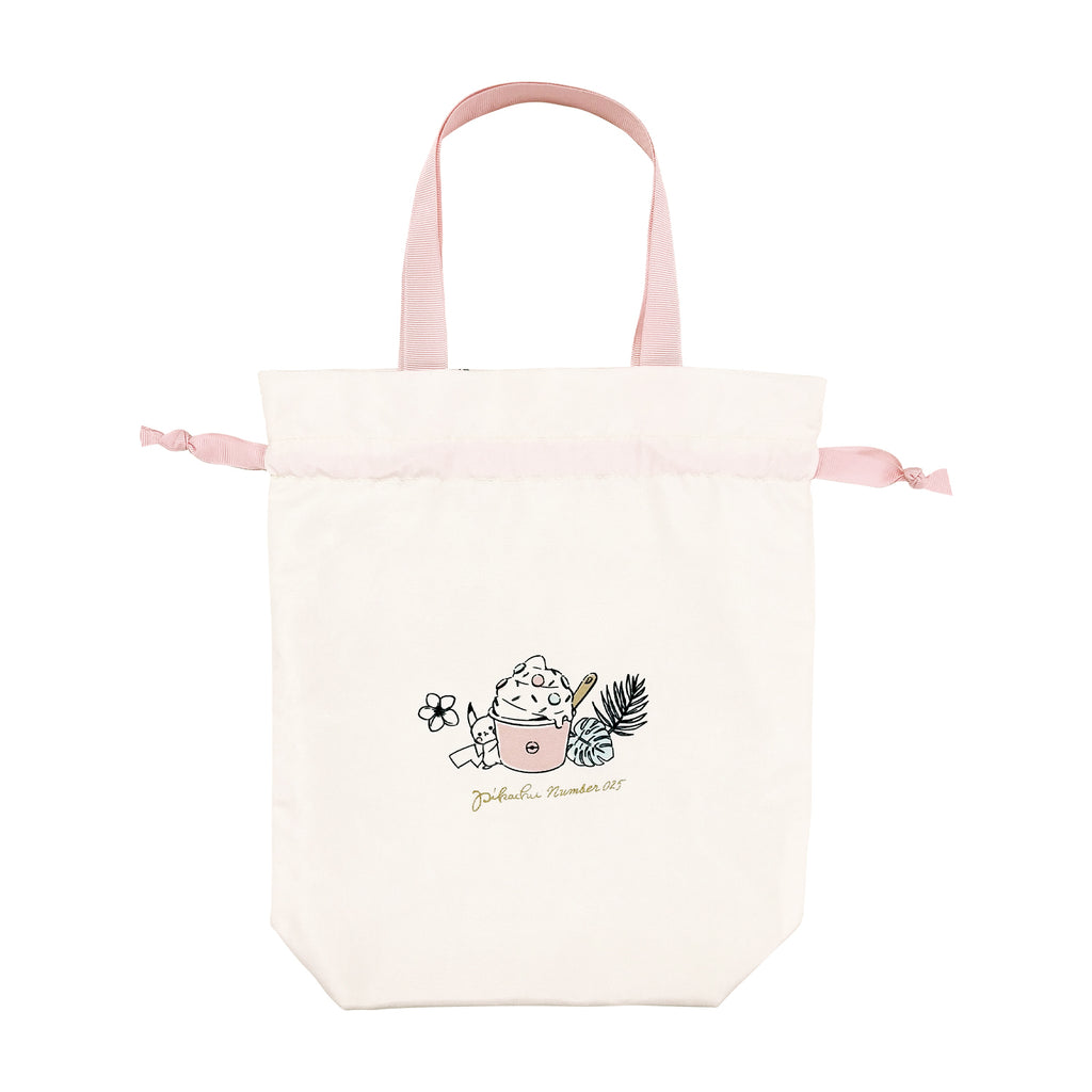 Drawstring Pouch PINK LITTLE RAINBOW Pikachu number025 Pokemon Center Japan