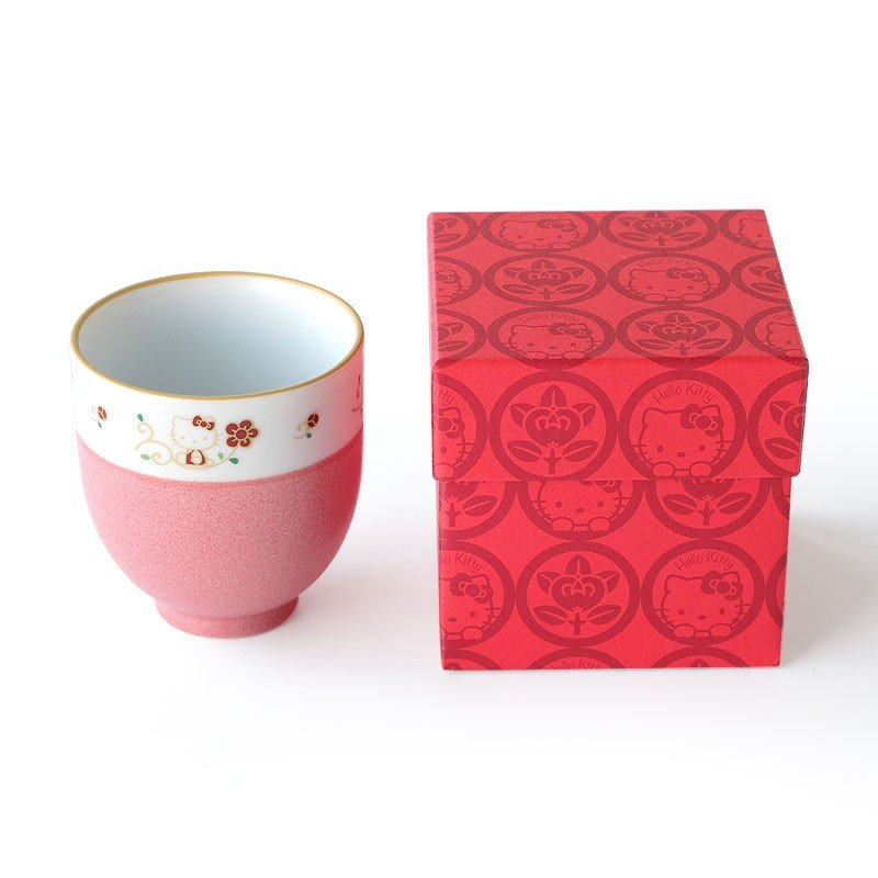 Hello Kitty Mino Ware Tachikichi Porcelain Teacup Flower Sanrio Japan Box