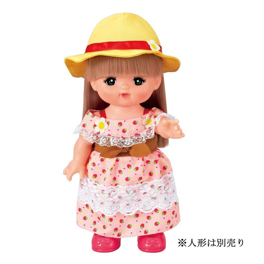 Costume for Mell chan Doll Strawberry Long Dress with Hat Pilot Japan