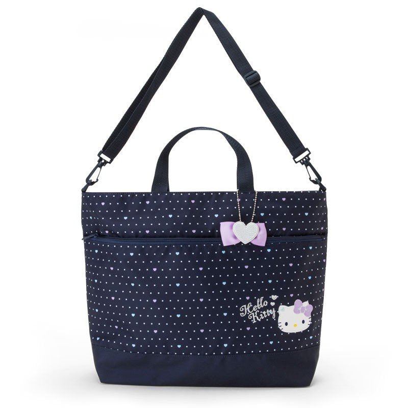 17f6dd6ba0dc Hello Kitty 2WAY Tote Shoulder Bag Dot Navy Sanrio Japan