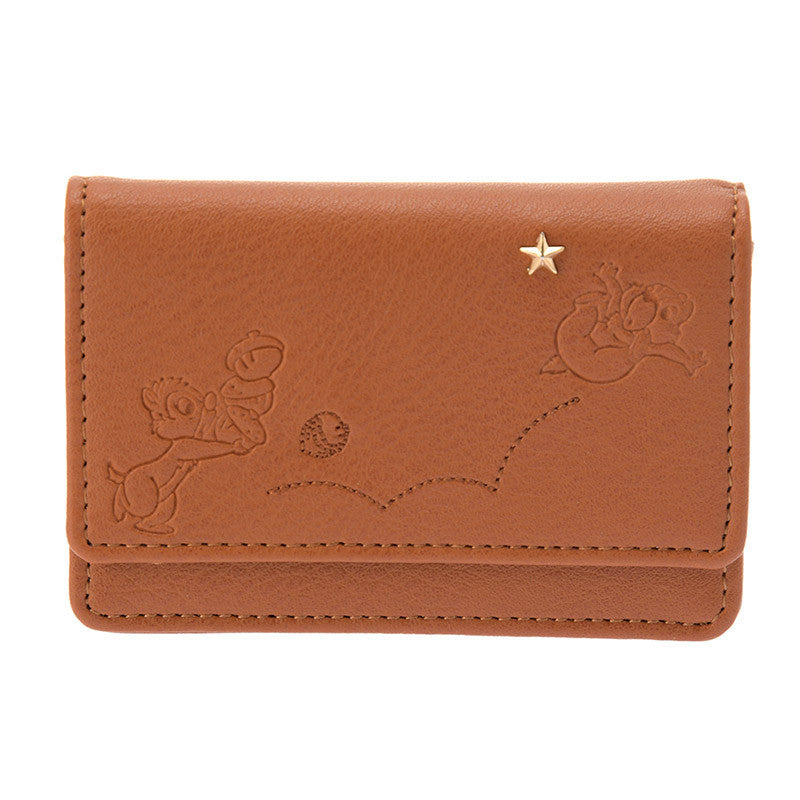 Chip & Dale Card Case Embroidery & Studs Disney Store Japan