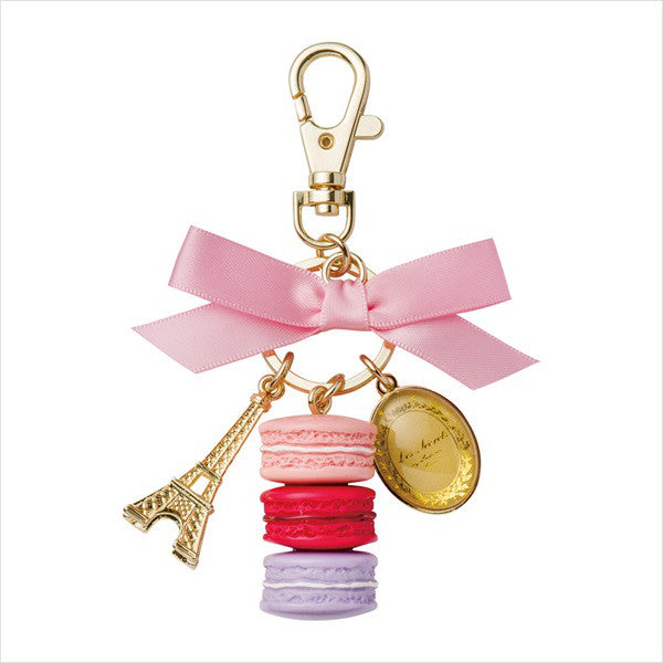 Bag Chain Keychain Ring Macaron Eiffel Tower Rose Pink Laduree Japan Round Box