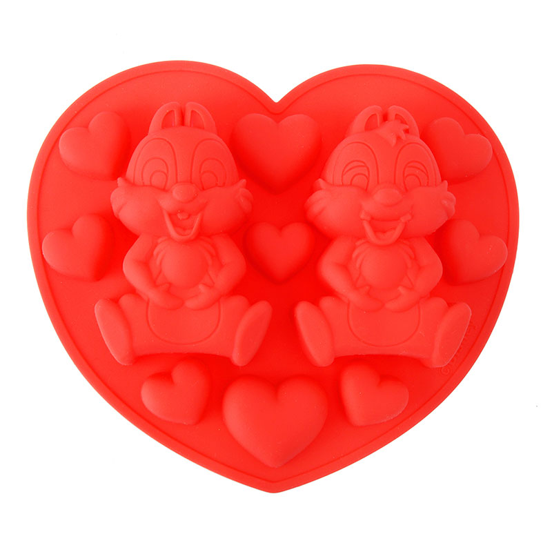 Chip & Dale Silicone Mold Heart Valentine 2019 Disney Store Japan
