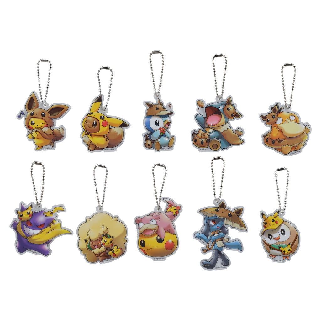 Acrylic Charm 10 Full BOX FAN OF PIKACHU & EIEVUI Japan Pokemon Center