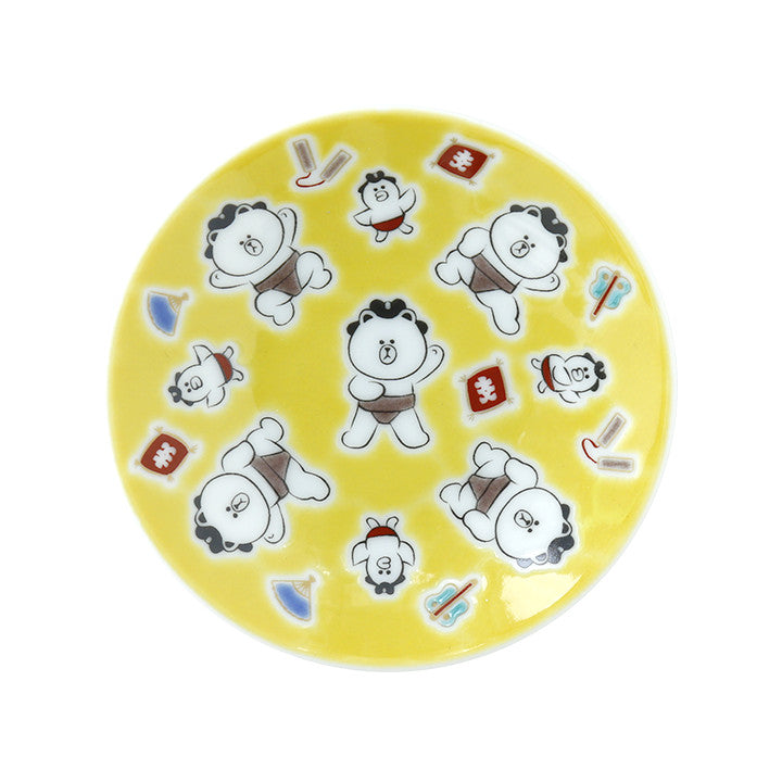 Brown mini Plate Kutani Ware Porcelain Sumo LINE FRIENDS Japan