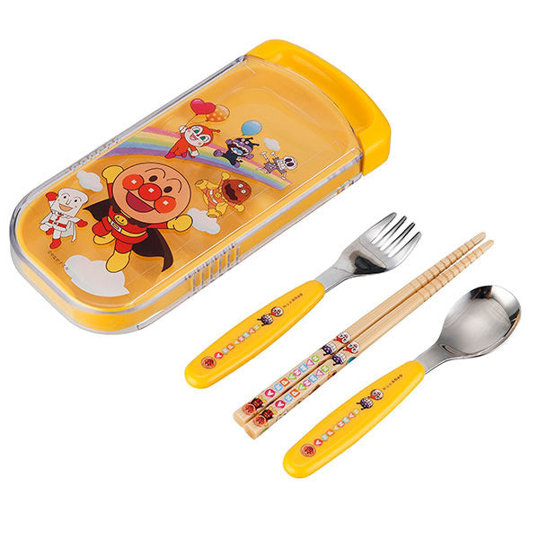 Anpanman Lunch Trio Cutlery Fork Spoon Chopsticks Yellow Japan