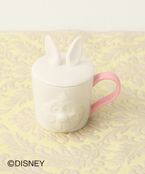 Alice in Wonderland White Rabbit Mug Cup Lid Pink Afternoon Tea Japan Disney