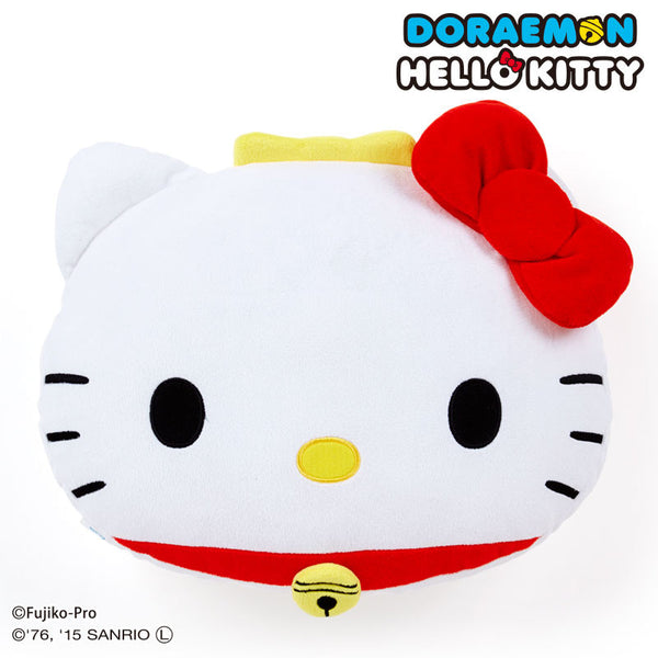Doraemon meets Hello Kitty Face Bell Plush Cushion SANRIO Japan