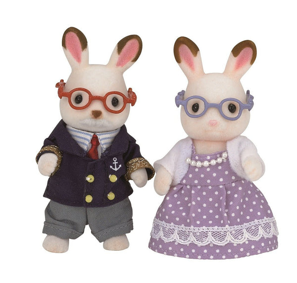 Chocolate Rabbit Grandfather Grandmother Doll U-68 Sylvanian Families Japan