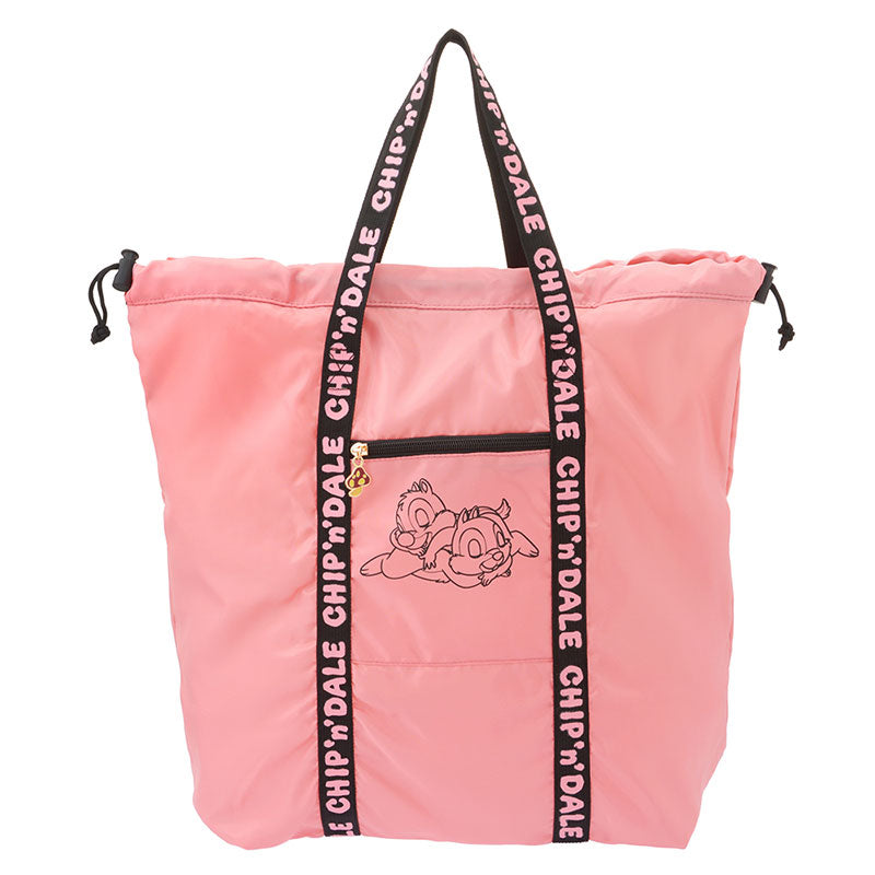 Chip & Dale Folding Tote Bag Logo Pink Disney Store Japan