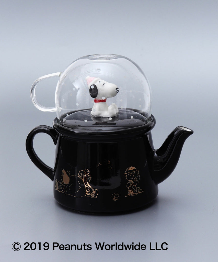 Snoopy Teapot & Glass Cup Set Black PEANUTS Afternoon Tea Japan
