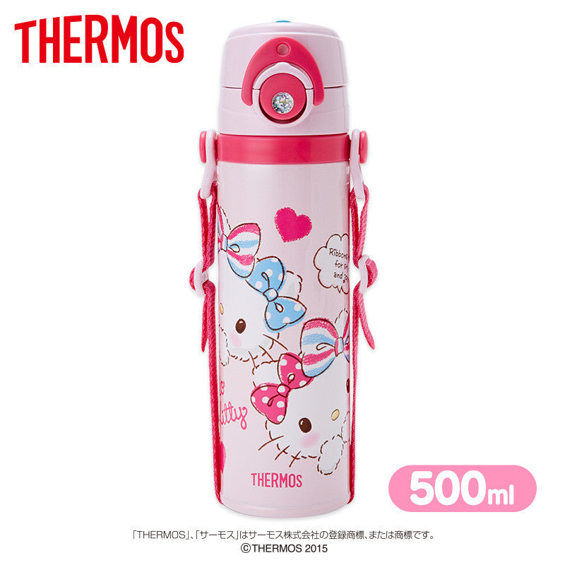 Hello Kitty Thermos Stainless Bottle Sport Tumbler Dot Sanrio Japan 500ml
