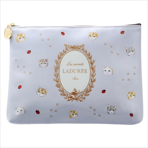 LADUREE Macaron Japan PVC Zipper Flat Pouch L Sha Cat Gray