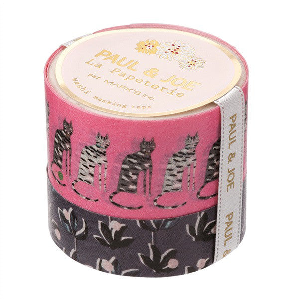 Masking Tape Sticker K Cat Pink 25mm 15mm Set PAUL & JOE Japan
