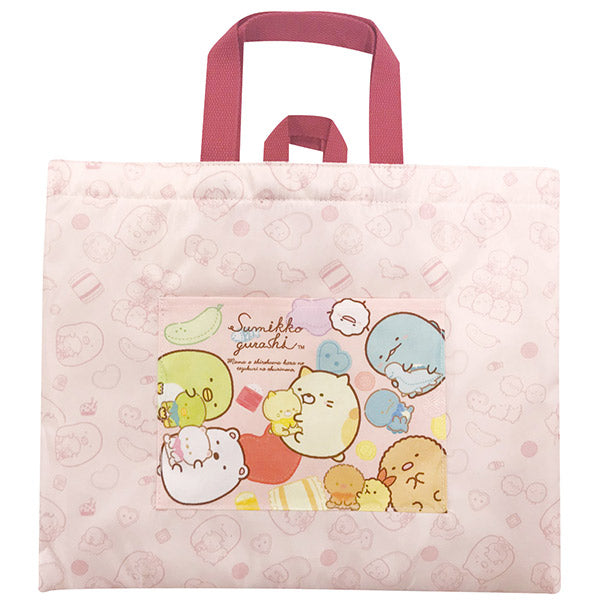 Sumikko Gurashi Lesson Tote Bag Pink Shirokuma's Handmade Plush Doll San-X Japan